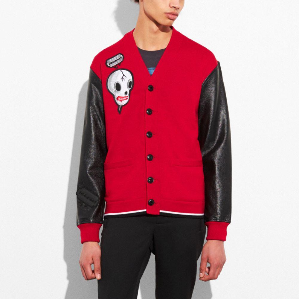 V-Neck Leather Sleeve Cardigan