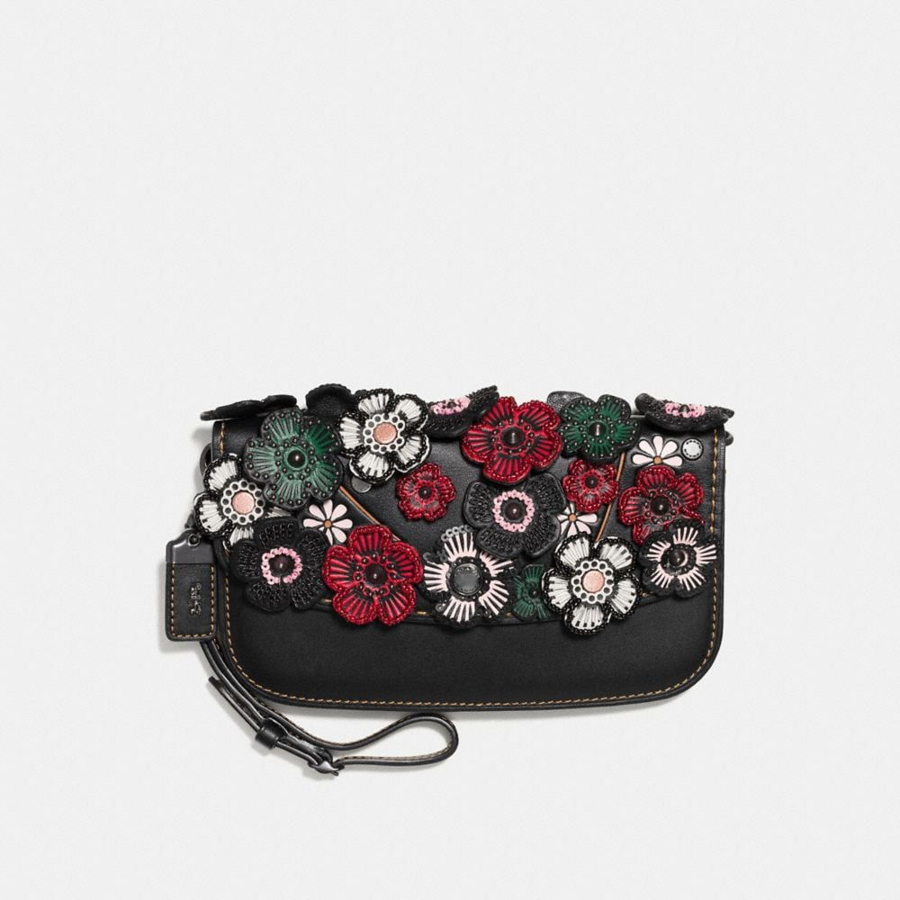 Coach Small Clutch With Tea Rose Applique