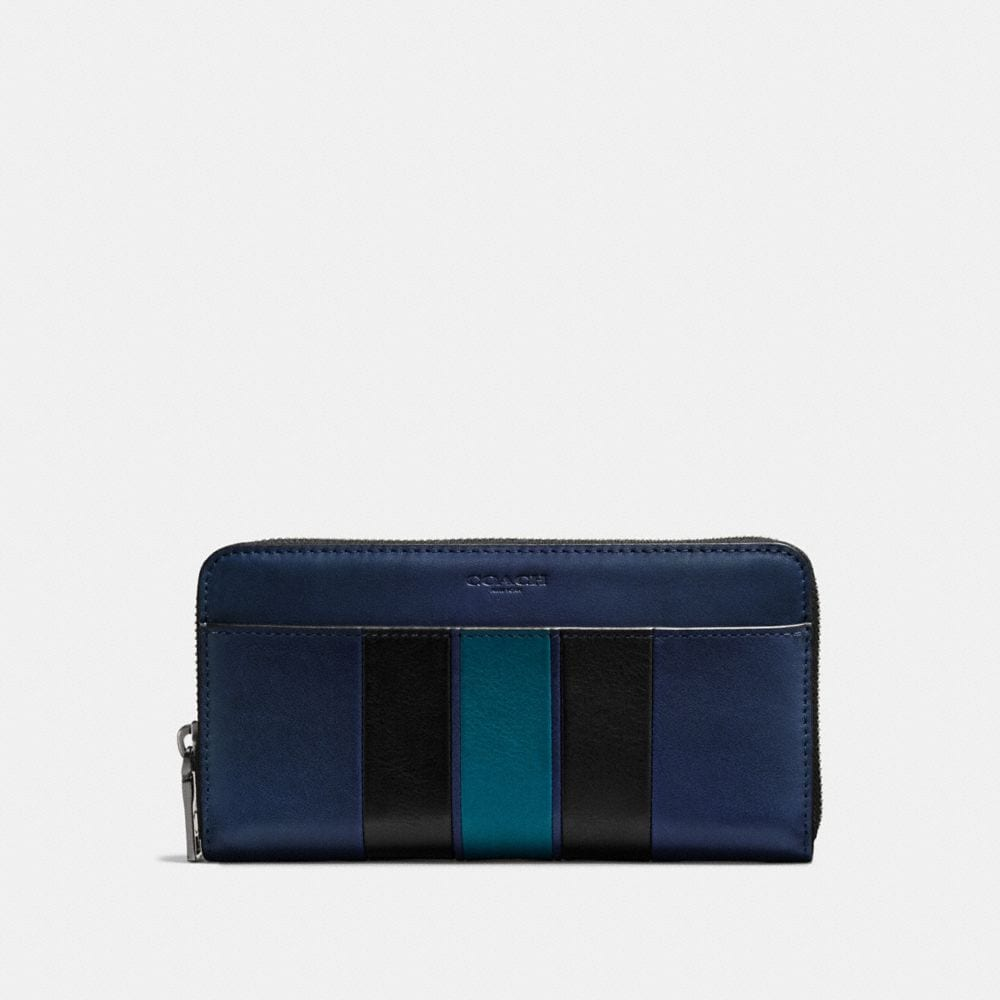 ACCORDION WALLET IN SPORT CALF LEATHER WITH VARSITY STRIPE