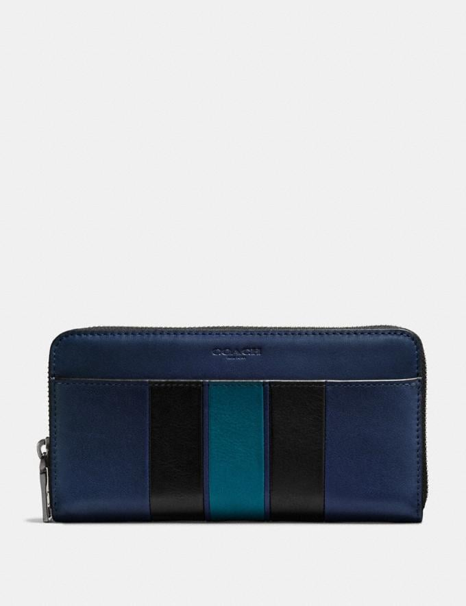 Coach Accordion Wallet With Varsity Stripe Midnight/Black/Dark Denim