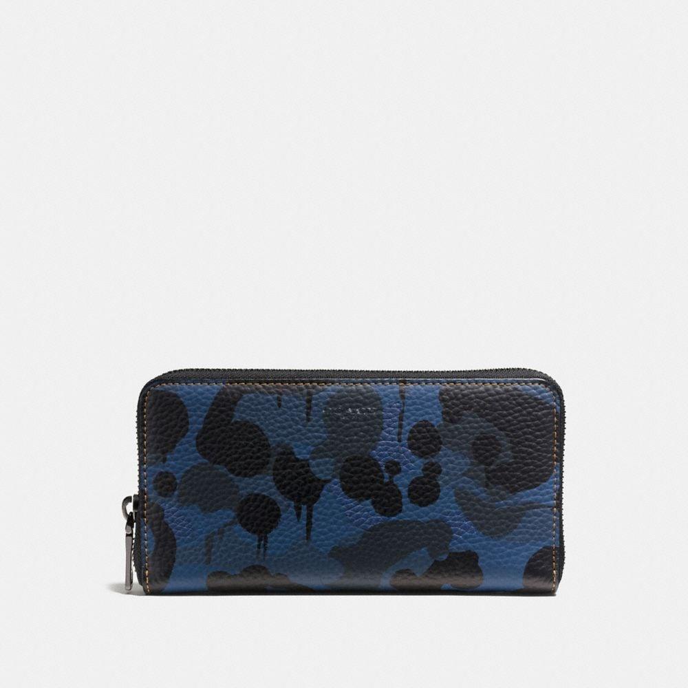 Accordion Wallet in Denim Wild Beast Print Leather
