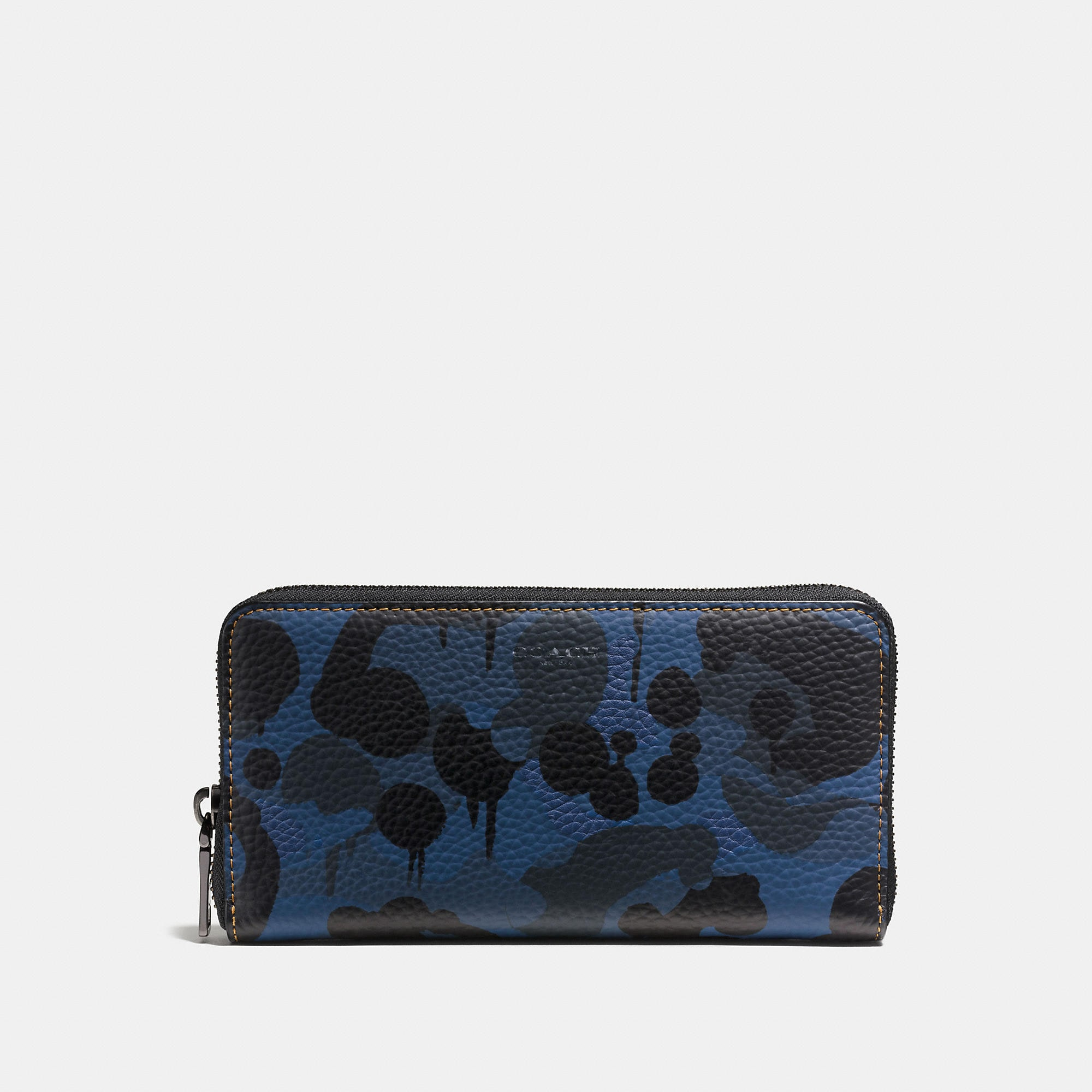 Coach Accordion Wallet In Denim Wild Beast Print Leather
