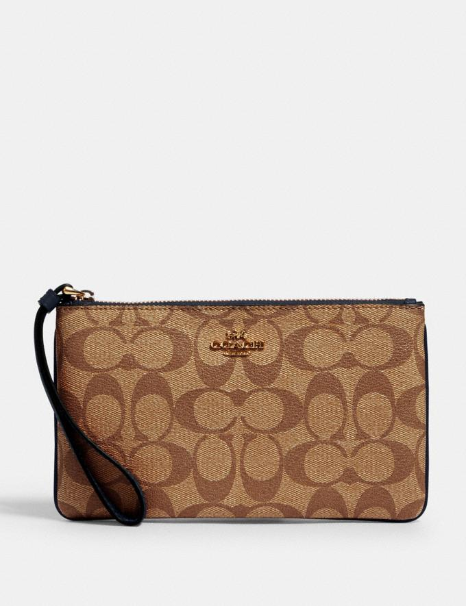 Coach Large Wristlet in Signature Canvas Im/Khaki Midnight