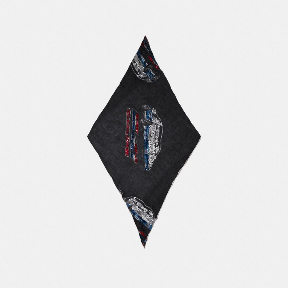 CARS OVERSIZED EMBELLISHED SILK DIAMOND SCARF
