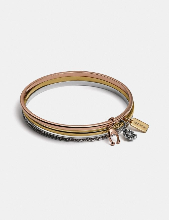 Coach Coach Signature Bangle Set Gd/Silver Rosegold Women Accessories Jewellery Bracelets