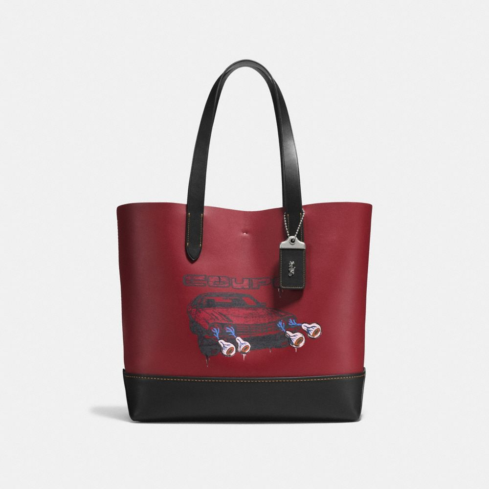 GOTHAM TOTE IN GLOVE CALF LEATHER WITH WILD CAR PRINT
