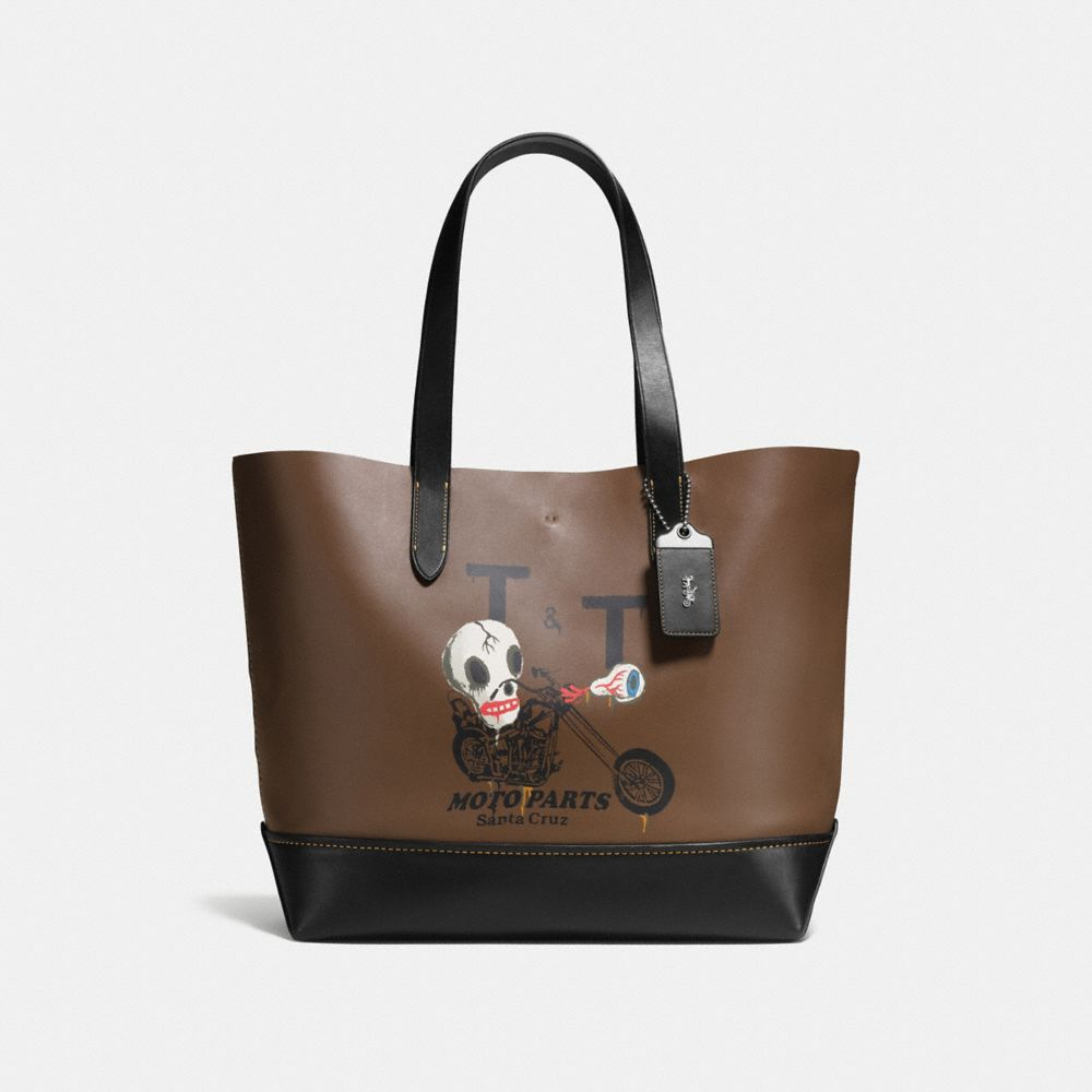 Gotham Tote in Glove Calf Leather With Wild Moto Print