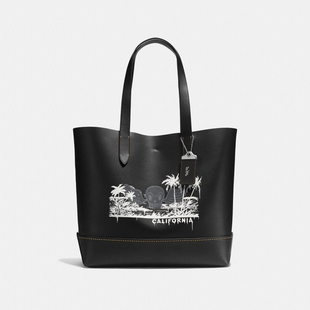 GOTHAM TOTE IN GLOVE CALF LEATHER WITH WILD SURF PRINT