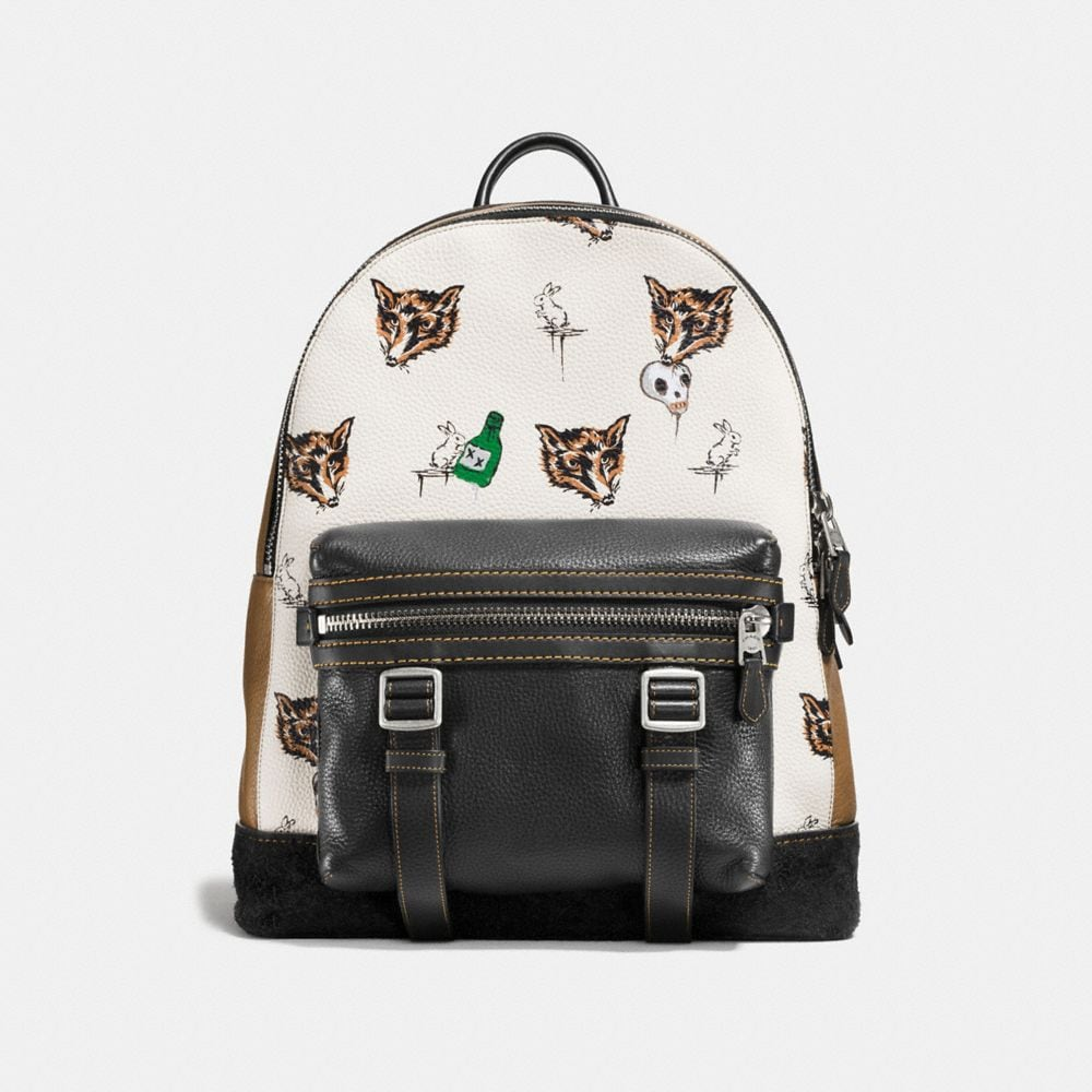 Coach Flag Backpack in Fox and Bunny Print Pebble Leather