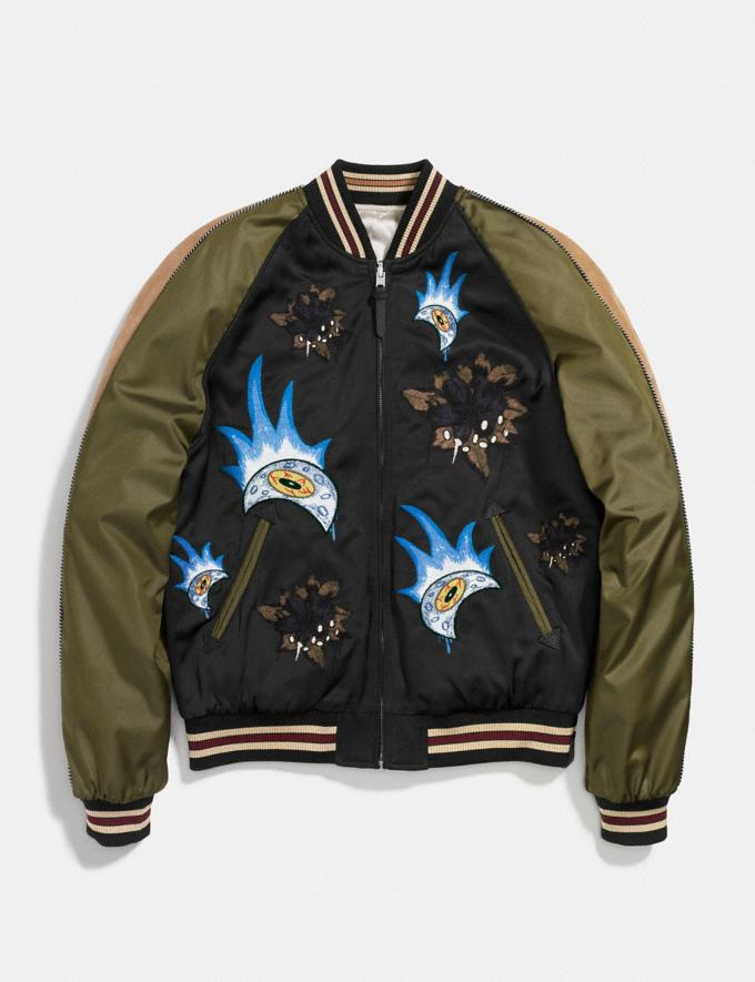 Coach Moon and Skull Souvenir Jacket Black/Military Runway Shop Men Ready-to-Wear Alternate View 1