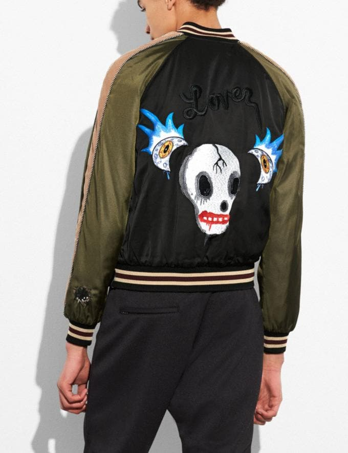 Coach Moon and Skull Souvenir Jacket Black/Military Runway Shop Men Ready-to-Wear Alternate View 3