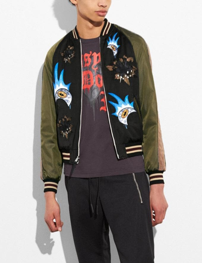 Coach Moon and Skull Souvenir Jacket Black/Military Runway Shop Men Ready-to-Wear Alternate View 4