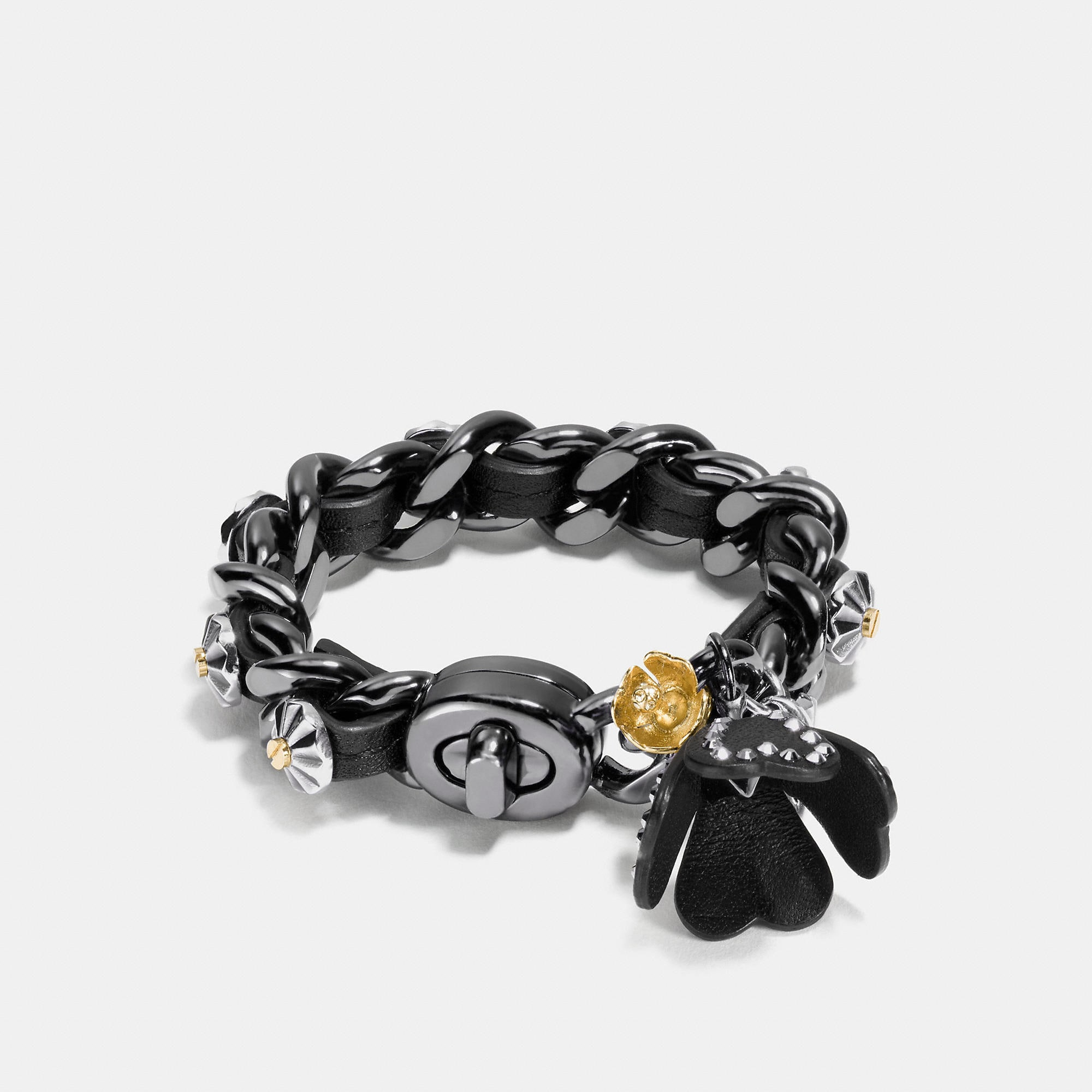 Coach Studded Daisy Rivet Tea Rose Charm Bracelet