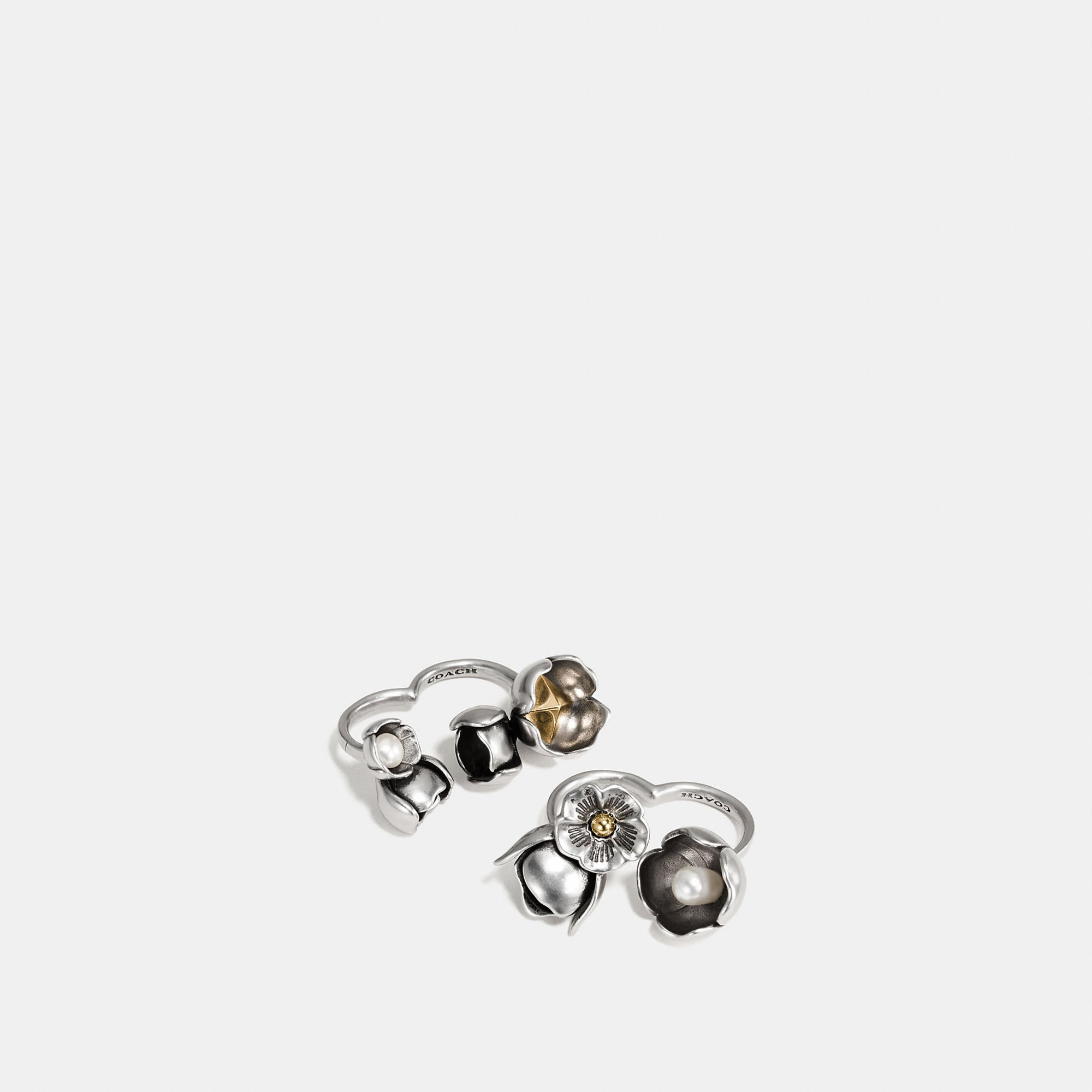 Coach Studded Tea Rose Duster Ring Set