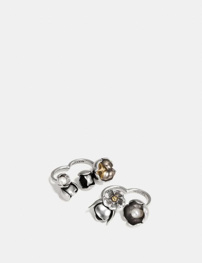 Coach Studded Tea Rose Duster Ring Set Gold/Silver New Featured Floral Remix