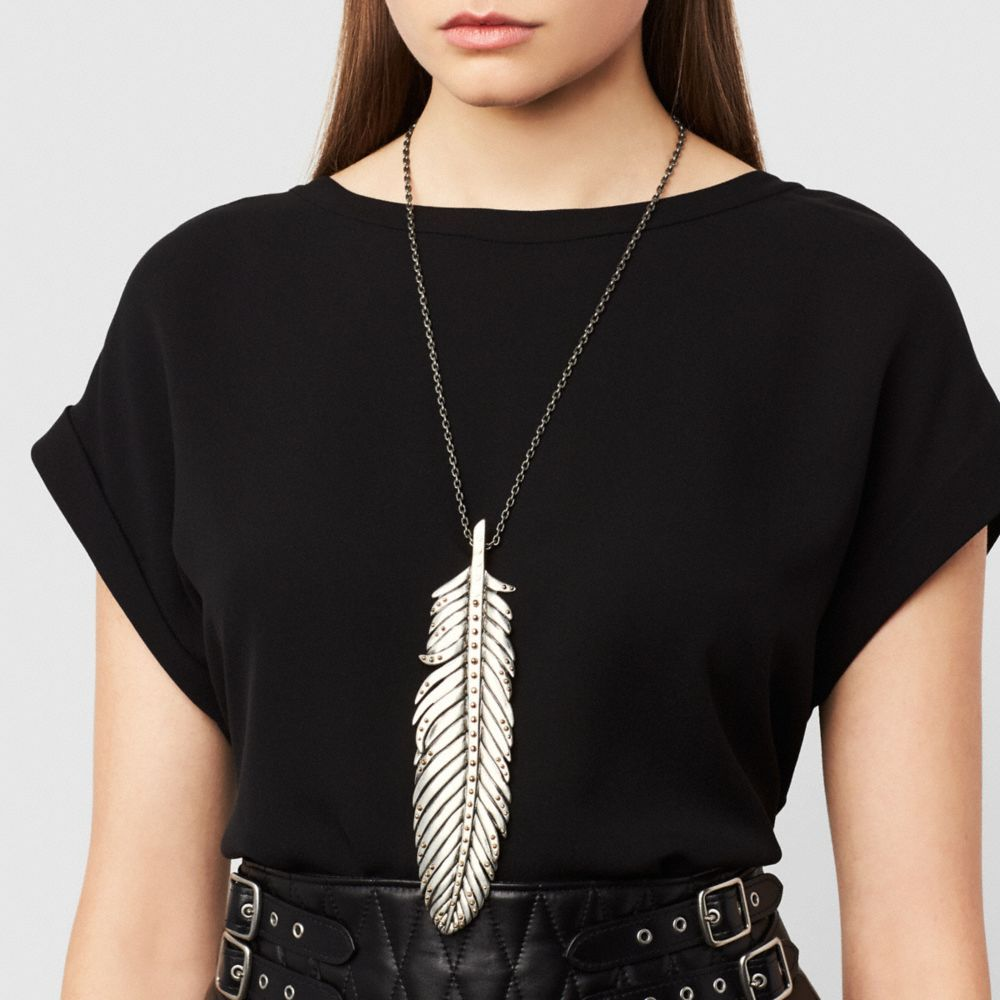 Large Studded Feather Necklace - Alternate View A1