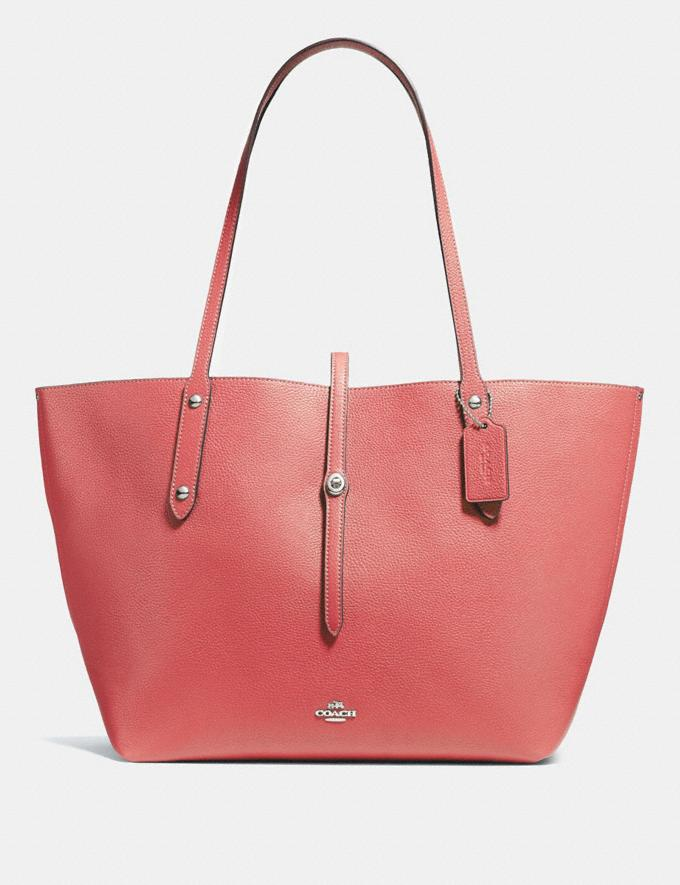 Coach Market Tote Bright Coral/Silver Gifts For Her