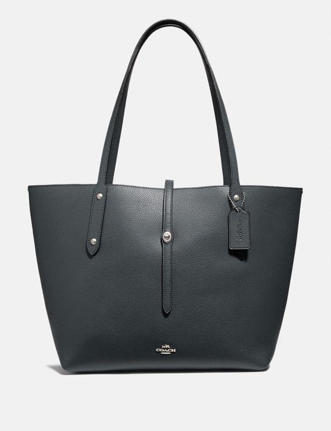 Coach Market Tote Midnight Navy/Silver New Featured Online Exclusives