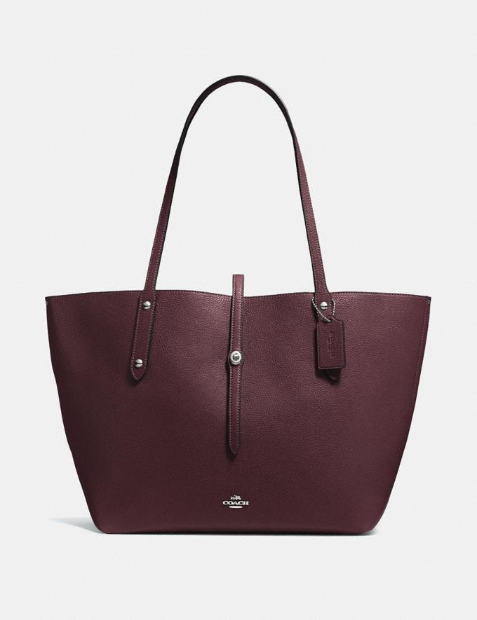 Coach Market Tote Oxblood/Silver New Featured Women New Top Picks