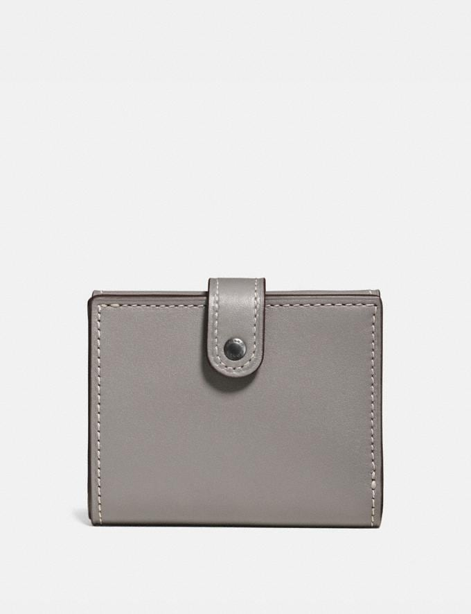 Coach Small Trifold Wallet Heather Grey/Black Copper Women Wallet Guide Small