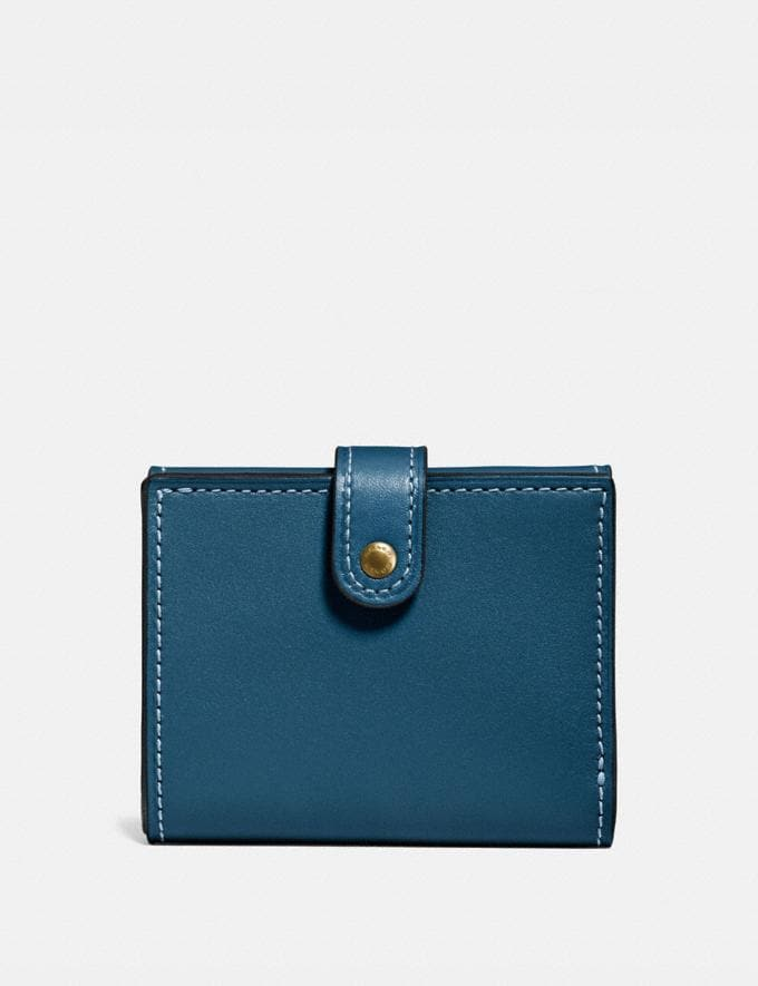 Coach Small Trifold Wallet Dark Denim/Brass Women Wallet Guide