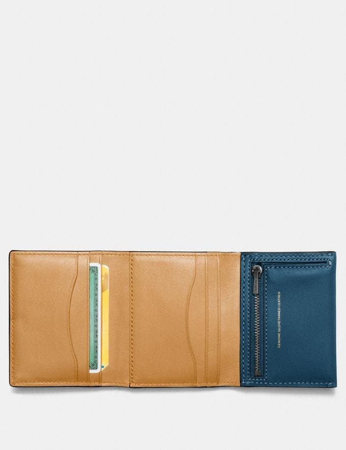 Coach Small Trifold Wallet Dark Denim/Brass Women Wallets & Wristlets Small Wallets Alternate View 1