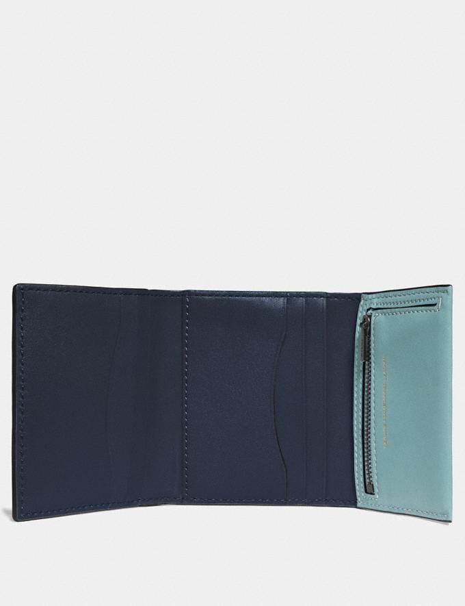 Coach Small Trifold Wallet Light Teal/Pewter New Women's New Arrivals Wallets & Wristlets Alternate View 1