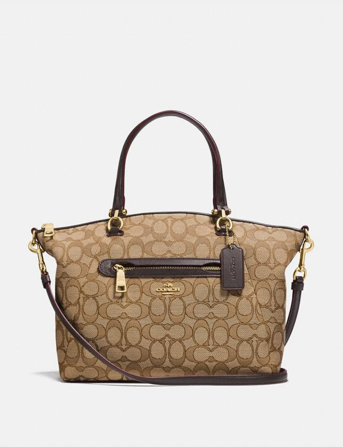 Coach Prairie Satchel in Signature Jacquard Khaki/Brown/Light Gold New Featured Online Exclusives