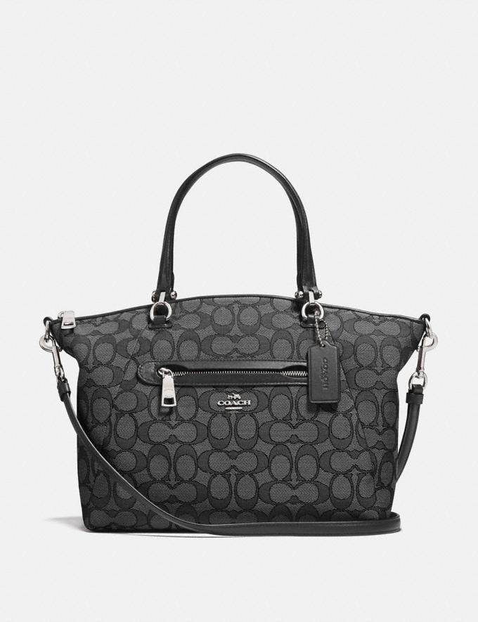 Coach Prairie Satchel in Signature Jacquard Black Smoke/Black/Silver Women Bags Satchels & Carryalls