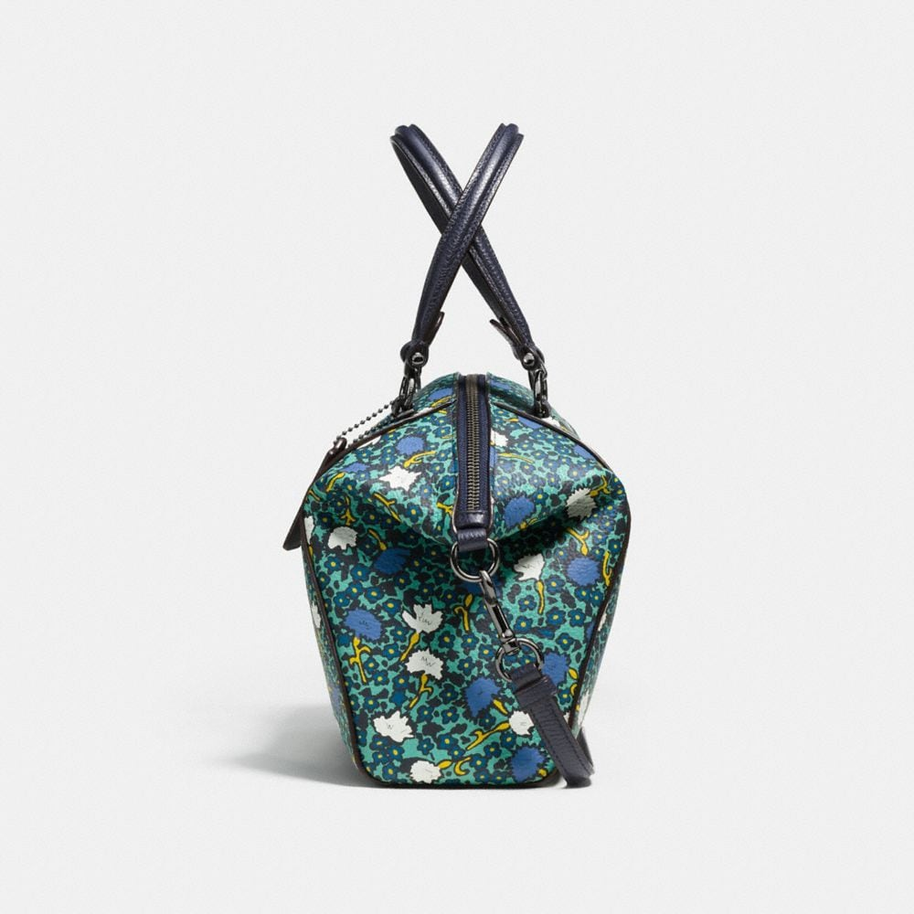 Prairie Satchel in Polished Pebble Leather With Floral Print - Alternate View A1