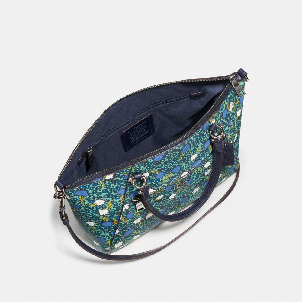 Coach Prairie Satchel in Polished Pebble Leather With Floral Print Alternate View 2