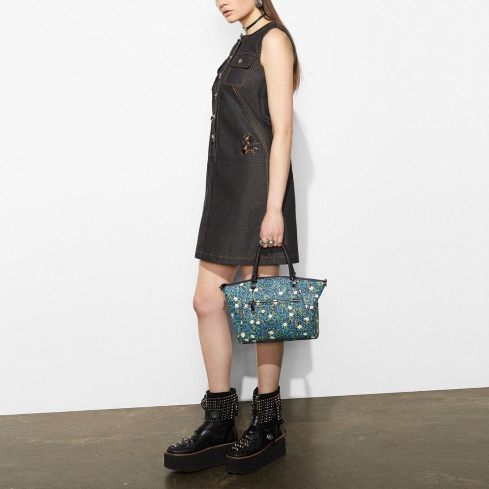 Coach Prairie Satchel in Polished Pebble Leather With Floral Print Alternate View 3