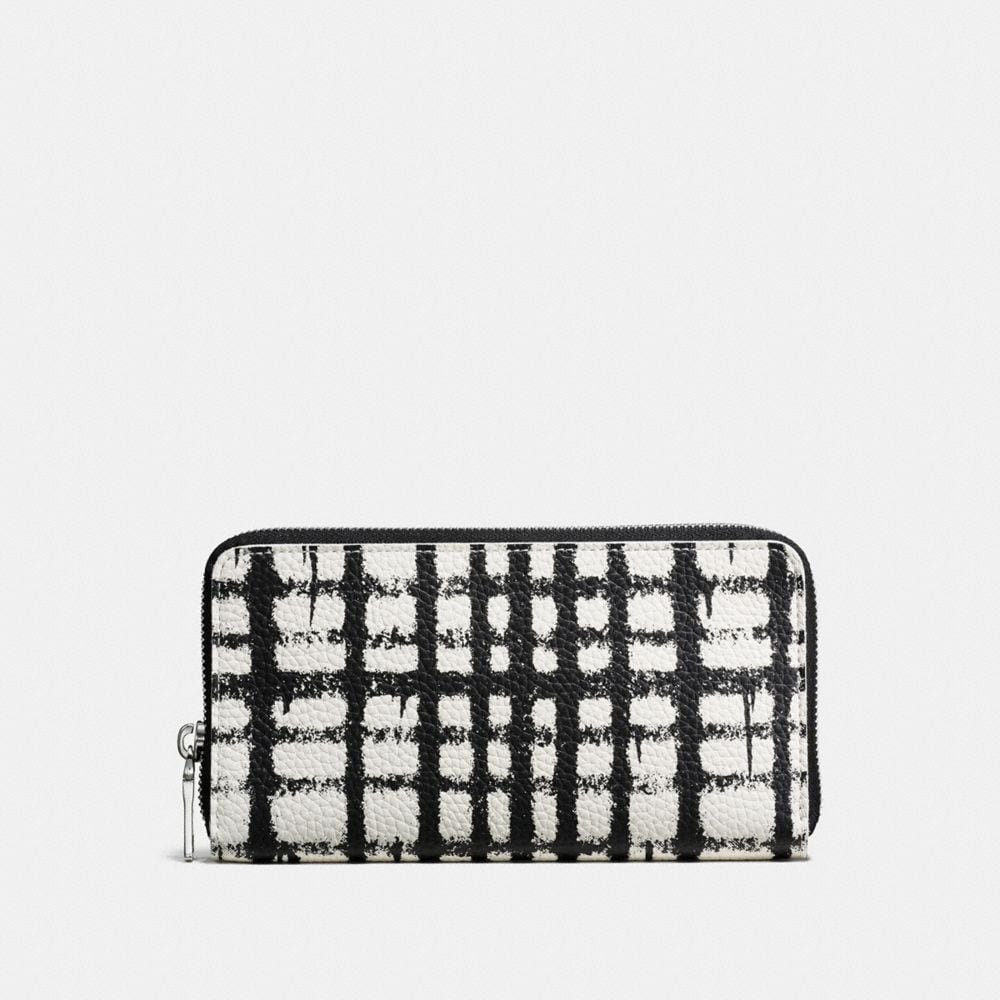 ACCORDION WALLET IN WILD PLAID PRINT PEBBLE LEATHER