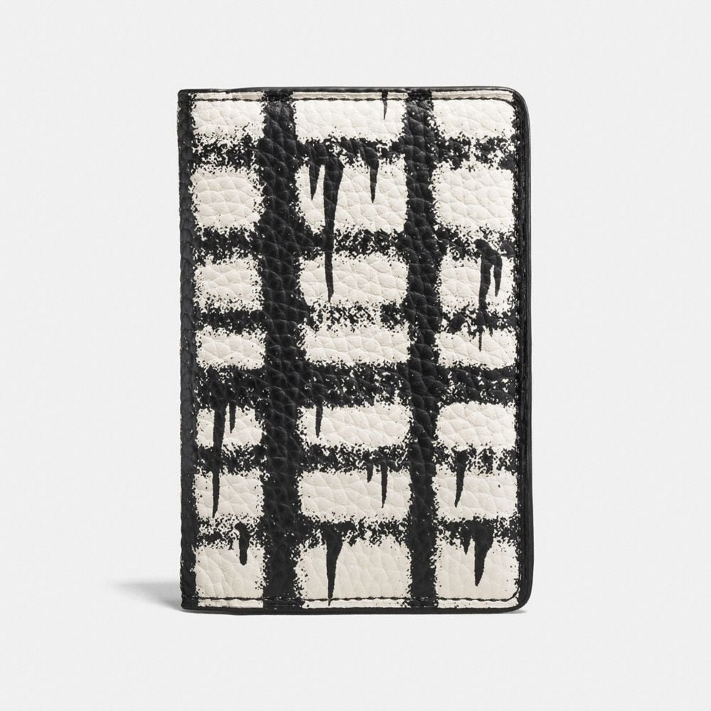 CARD WALLET IN PEBBLE LEATHER WITH WILD PLAID PRINT