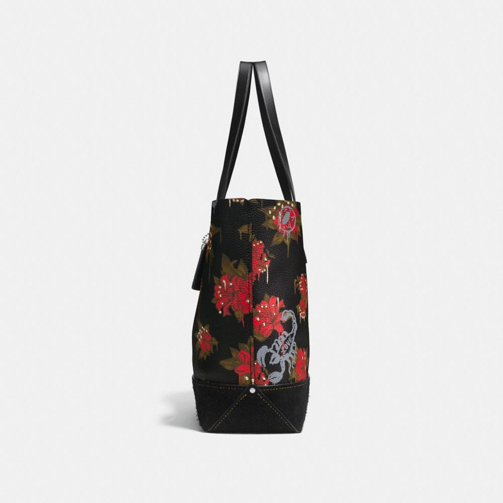 Coach Gotham Tote in Pebble Leather With Wild Lily Print Alternate View 1