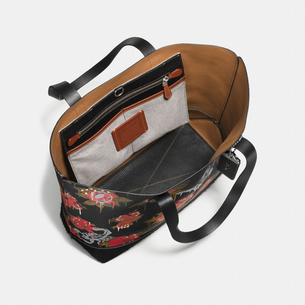 Gotham Tote in Pebble Leather With Wild Lily Print - Alternate View A2
