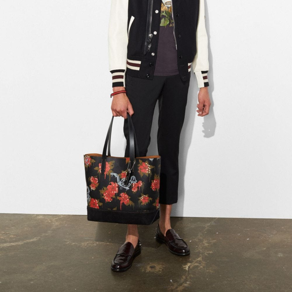 Coach Gotham Tote in Pebble Leather With Wild Lily Print Alternate View 3