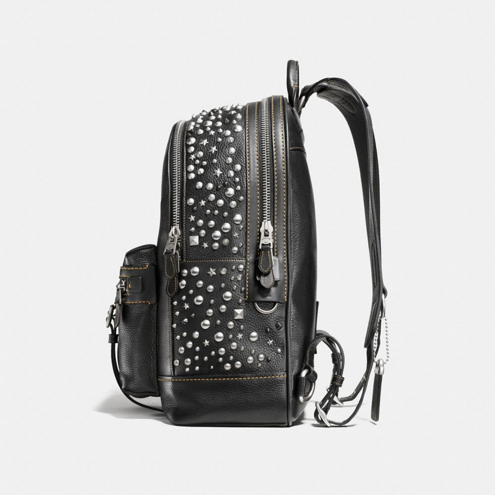Coach Flag Backpack in Pebble Leather With Studs Alternate View 1