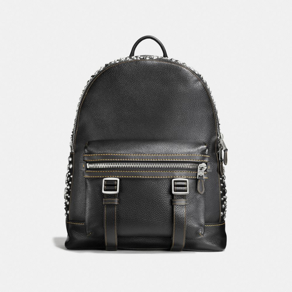 FLAG BACKPACK IN PEBBLE LEATHER WITH STUDS
