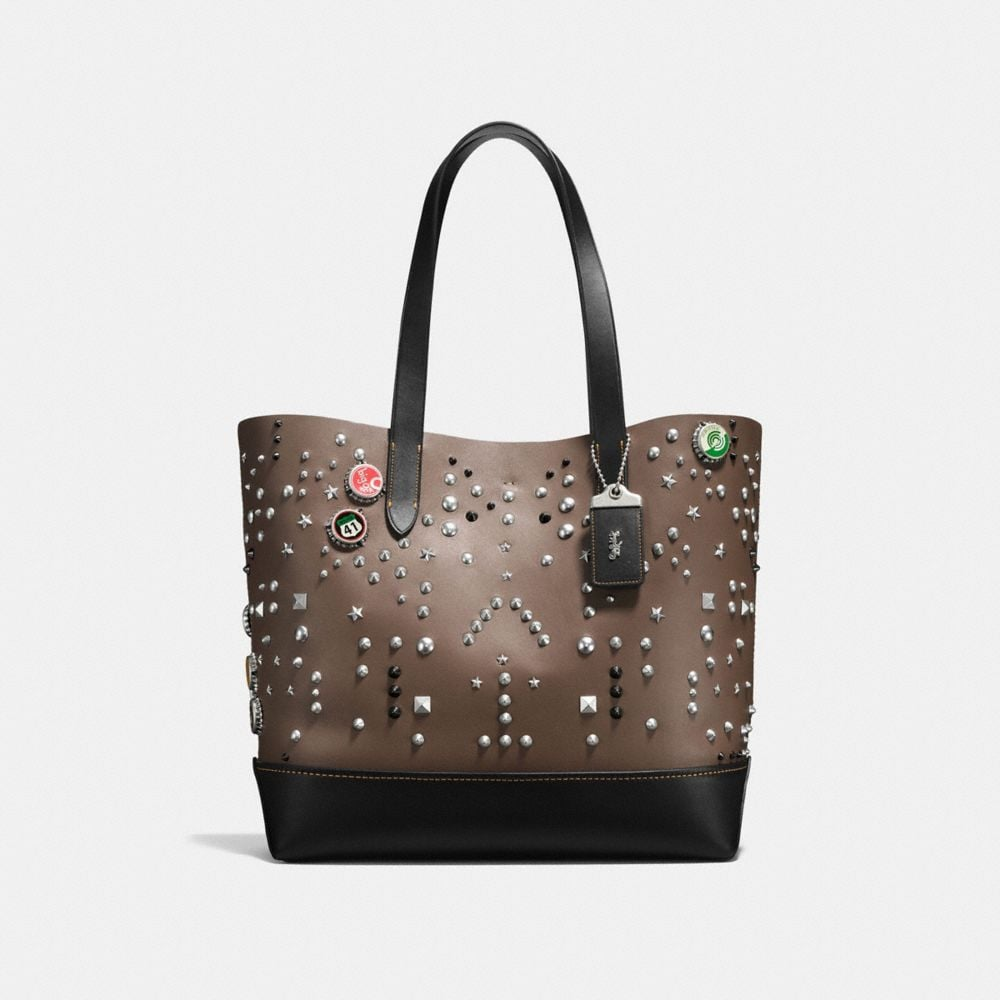 GOTHAM TOTE IN GLOVETANNED LEATHER WITH STUDS