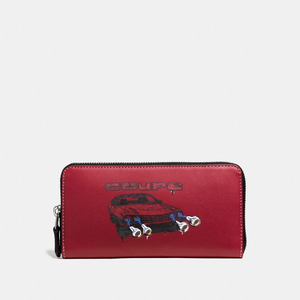 ACCORDION WALLET IN GLOVETANNED LEATHER WITH WILD CAR PRINT