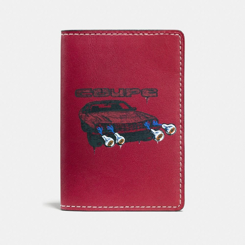 CARD WALLET IN GLOVETANNED LEATHER WITH WILD CAR PRINT