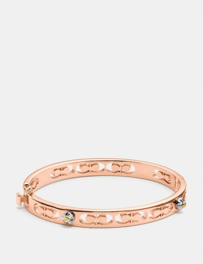 Coach Daisy Rivet Pierced Kissing C Hinged Bangle Rose Gold Women Accessories Jewellery Bracelets