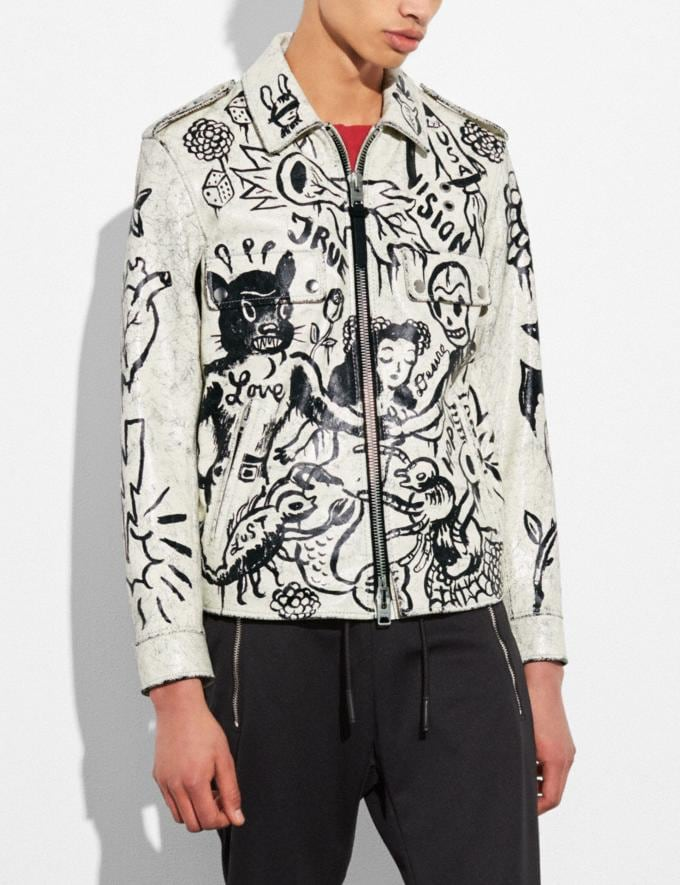 Coach Printed Officer Jacket White Runway Shop Men Ready-to-Wear