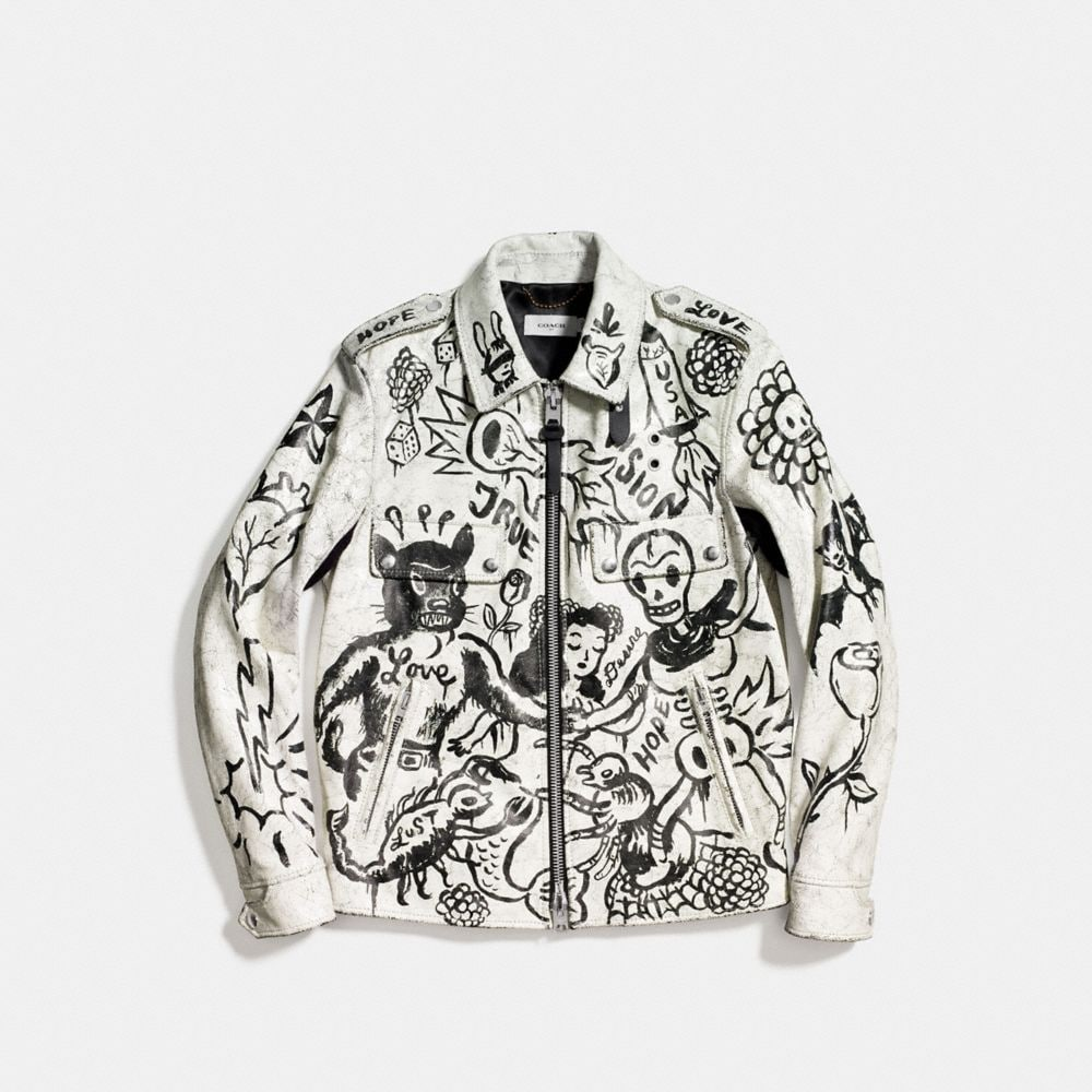 Coach Printed Officer Jacket Alternate View 1