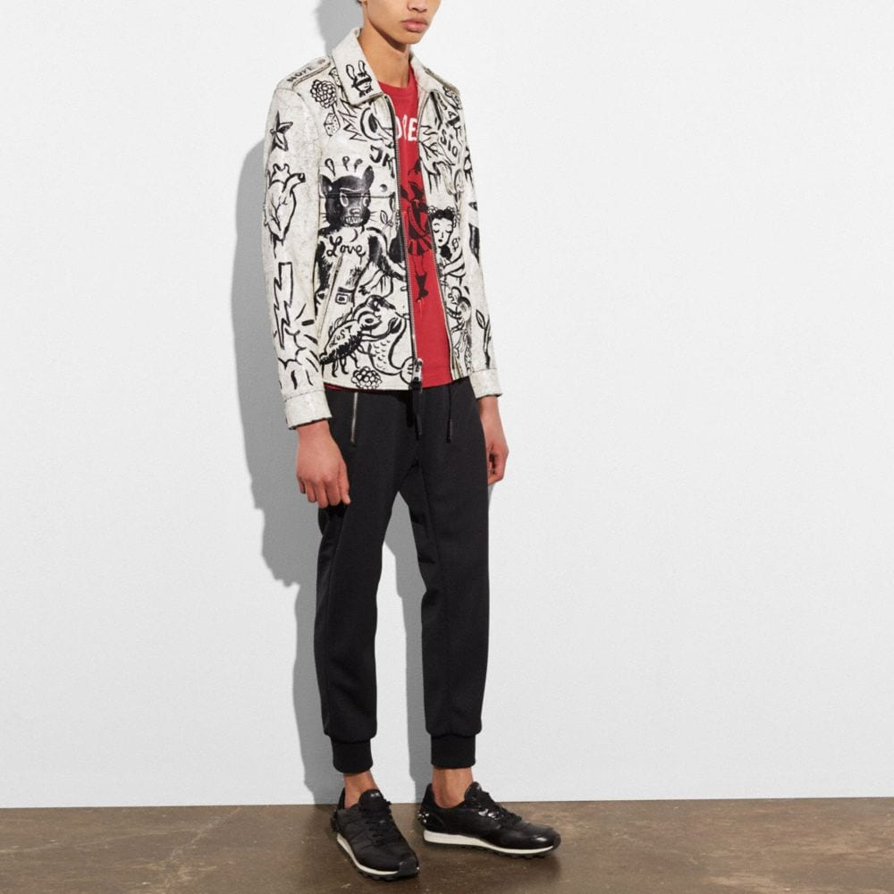Coach Printed Officer Jacket Alternate View 4