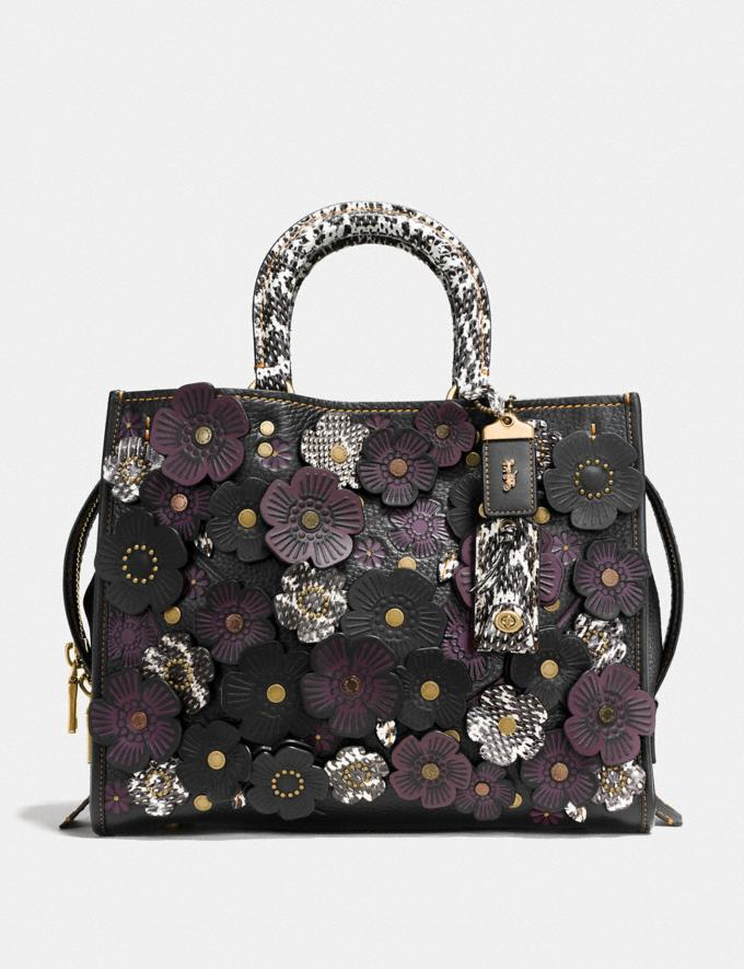 Coach Rogue With Snakeskin Tea Rose Black/Brass Women Collection Rogue