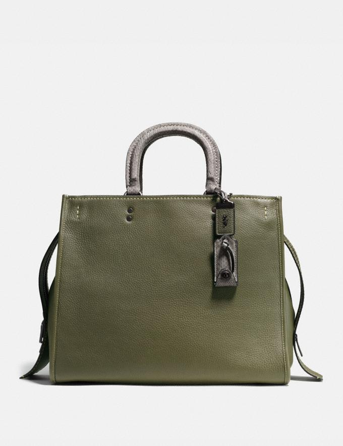 Coach Rogue 36 With Colorblock Snakeskin Detail Olive/Black Copper SALE Women's Sale New to Sale New to Sale