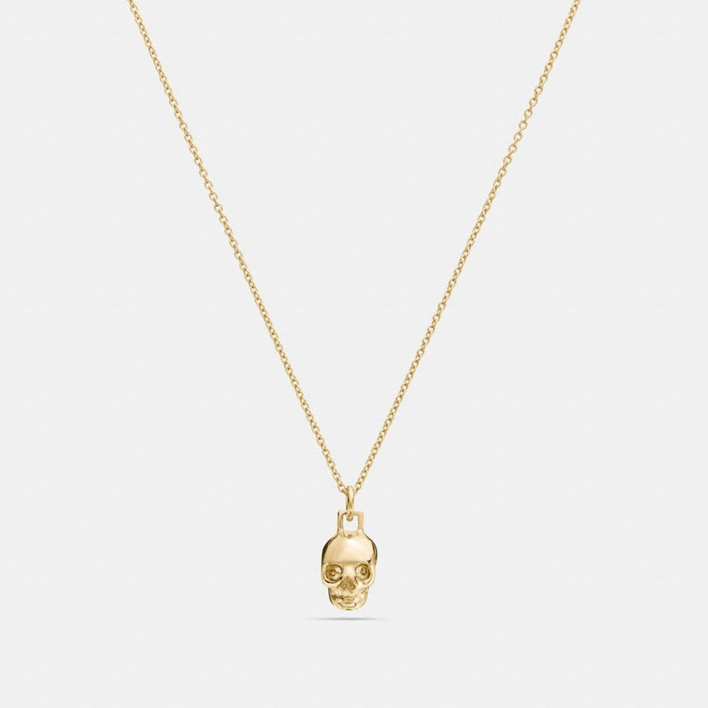 Coach Mini 18k Gold Plated Skull Necklace