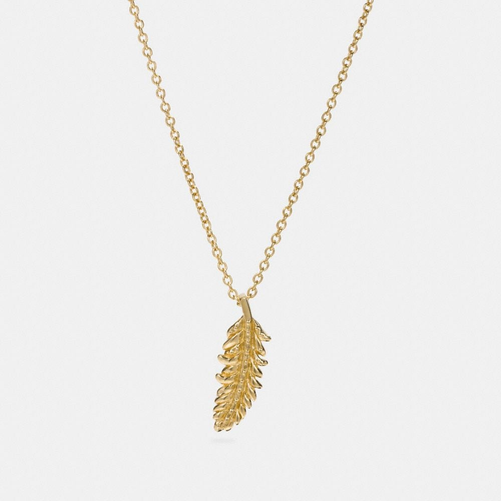 Coach Mini 18k Gold Plated Feather Necklace